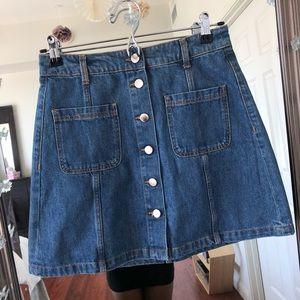 H&M High Waisted Button Down Denim Jean Skirt